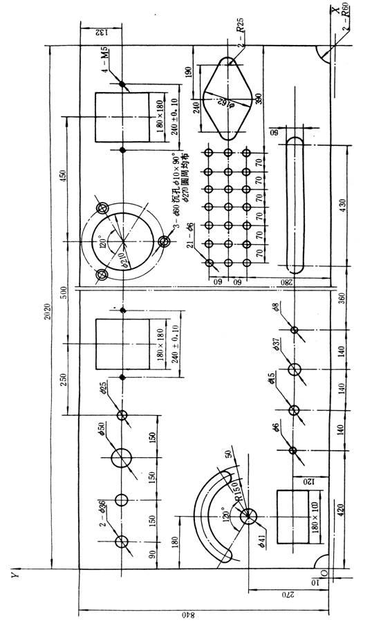 数控冲压工艺的程序编制是根据板件零件图,按照数控系统规定采用的代码和程序格式,编制成计算机能识别的语言输入计算机,控制机床自动加工出符合零件图要求的合格工件,因此,编制程序前,应了解数控压力机的规格、性能、数控系统所具备的各种功能及编制程序的指令格式等。同时要对加工零件图的技术要求、孔的尺寸、形状、位置和距离进行分析,并进行数值计算以确定加工方法和加工路线。然后根据数控系统所采用的代码和程序格式,将板件所要求的孔距、运动轨迹、位移量、模具号、速度以及辅助功能(程序结束、开关量控制等)编制成加工程序单。将此