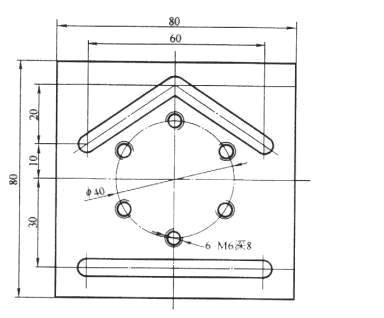 表2 槽形零件的加工程序; 加工中心编程实例一 编程实例;